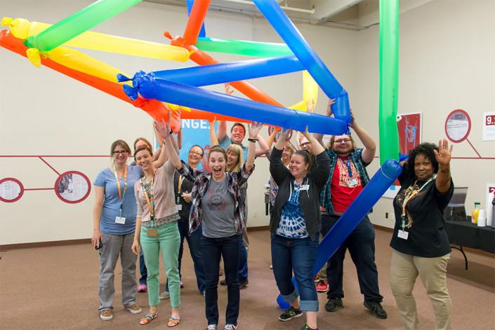 Teachers during a Steve Spangler workshop building Windbag structures