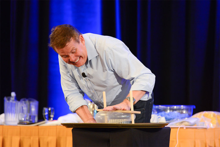 Steve Spangler at Science in the Rockies performing the bed of nails