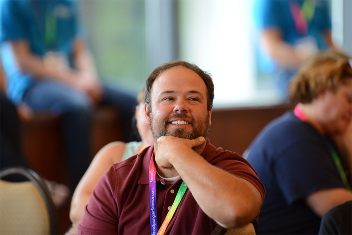 Teacher listening to Steve Spangler at Science in the Rockies workshop in 2015