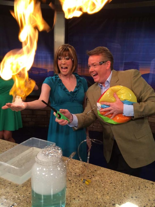Steve Spangler during a 9News segment on TV