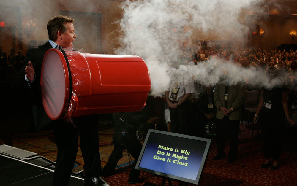 Steve Spangler launching smoke rings during a corporate keynote