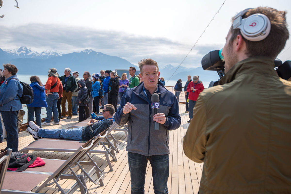 Steve Spangler filming a 9News segment during Science at Sea in Alaska