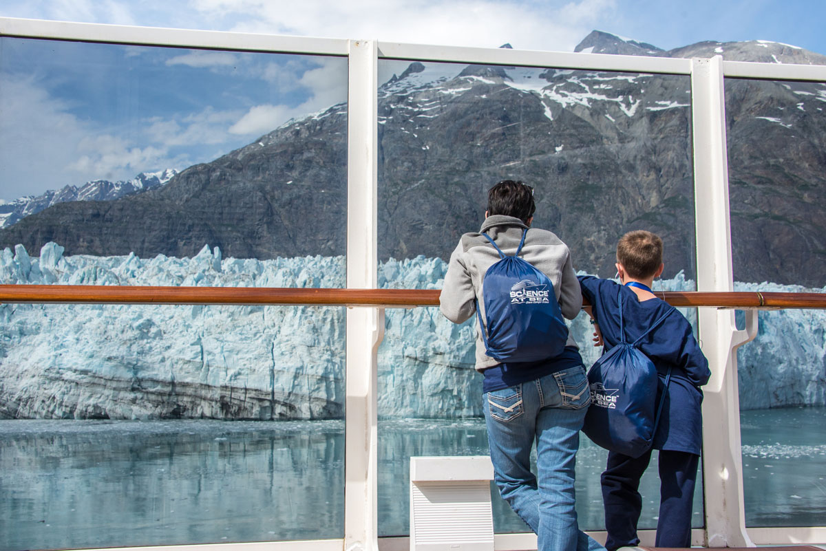 Mother and Son looking at Glacier Bay during Science at Sea 2015