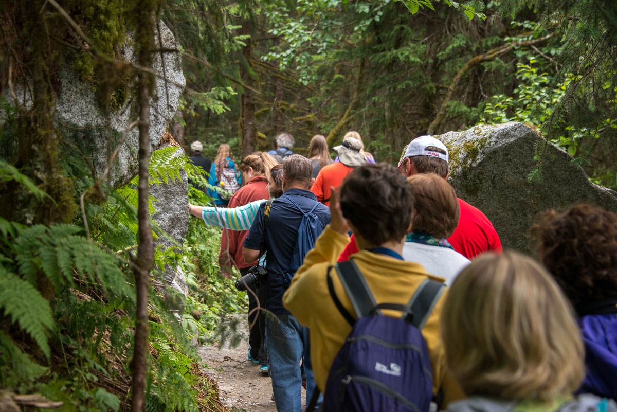 Teachers on a hike during Science at Sea in Alaska