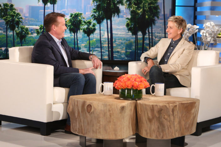 Steve Spangler Sitting on Couch on Ellen DeGeneres Show
