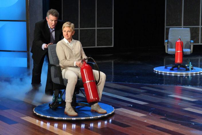 Steve Spangler Pushing Ellen DeGeneres in a Hovercraft