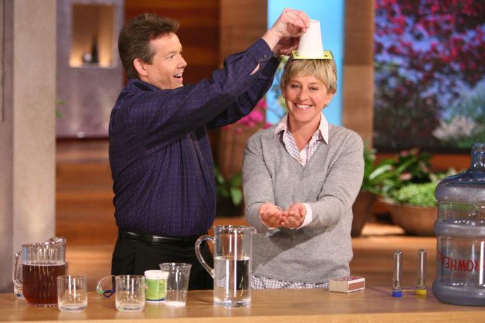 Steve Spangler Holding a Cup Over Ellen DeGeneres Show