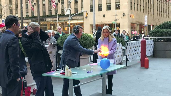 Steve Spangler doing fire bubbles on Fox and Friends