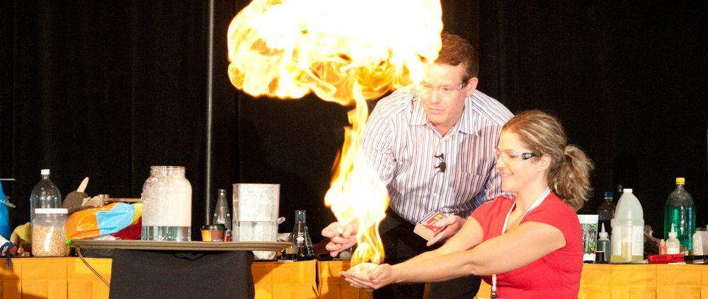 Steve Spangler on Stage with a Teacher