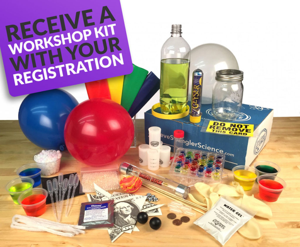 An image of balloons and science equipment labelled as a Workshop Kit