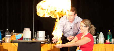 Steve Spangler on Stage with a Teacher