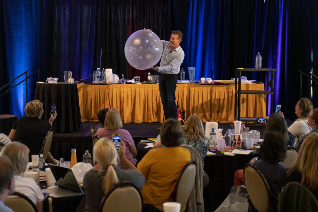 Steve Spangler on stage at STEM Conference